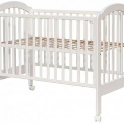 Łóżeczko dziecięce Scarlett Michał z opuszczanym bokiem, buk - białe